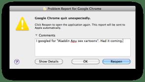 Problem report for Google Chrome