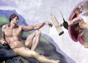 Hand of God giving Adam a Penis Pump