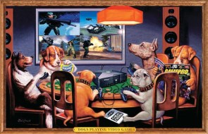 Dogs playing video game