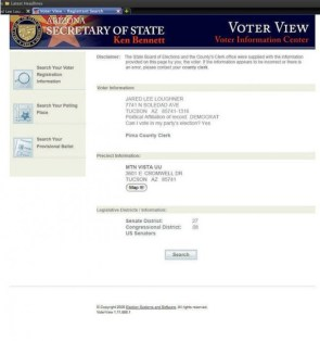 Jared Loughners voter registration