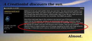 a creationist discovers the sun