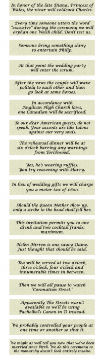 From the Royal Wedding Invitation