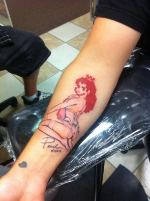 Princess Peach Pinup Girl Tattoo