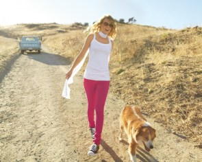 taylor walks her dog