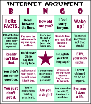 Internet Argument BINGO