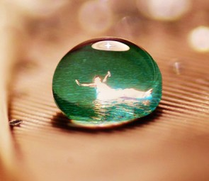 Photoshopped image of me floating in a water drop