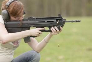 white chik with gun