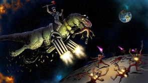 t-rex in space with minguns for guns shooting aliens with a mailman as rider