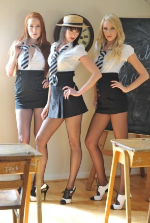 school girls posing