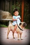 Kid on Pug