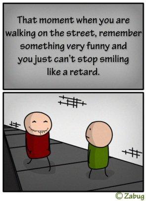 smiling like a retard