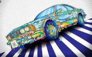 rainbow death car