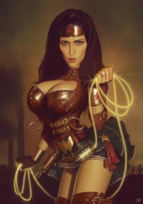 Steampunk Wonder Woman and sexy friends