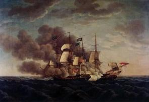 The USS Constitution demasting the HMS Guerriere