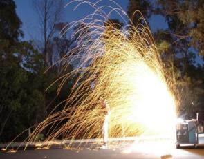 Exploding Steel Wool with Tesla Coils