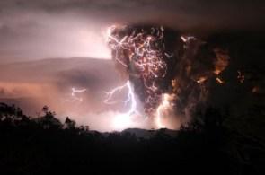 Erupting Volcano in a lightning storm