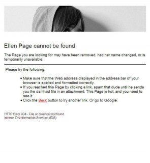 The most disheartening 404 ever! (A severe lack of Ellen Page)