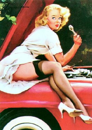 Classic Pin-up fixing cars