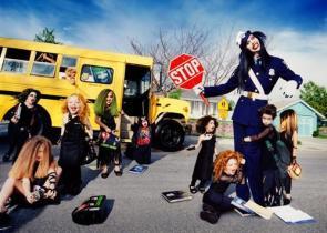 Marilyn Manson rides the short bus.