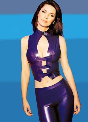Shania Twain in Purple Pleather