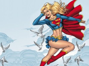 supergirl flies with birds