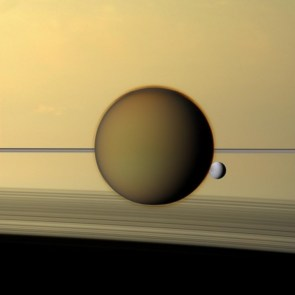 Titan, Dione, Saturn & rings