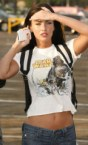 Megan Fox with iPhone and Star wars t-shirt