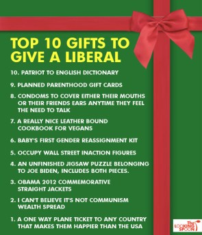 Top 10 gifts to give a Liberal