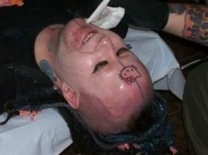 Hello Kitty Forehead Tattoo