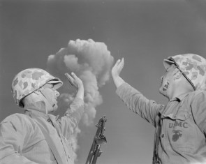 soldiers high five a nuke