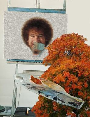 quit bob ross in the distance