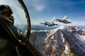 f-117 over mountains