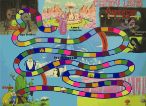 Adventure Time! Candy Land board game that is playable in the forums.
