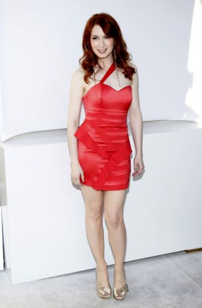 Felicia Day in a red dress