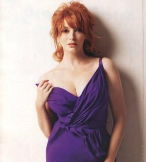 Ms. hendricks in a purple dress