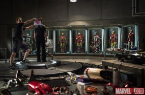 on the set of Iron men 3