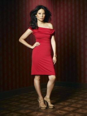 lucy liu in a red dress
