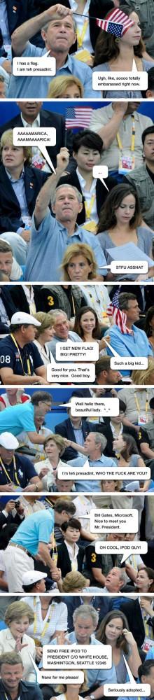 Bush and Gates Meet At The Olympics