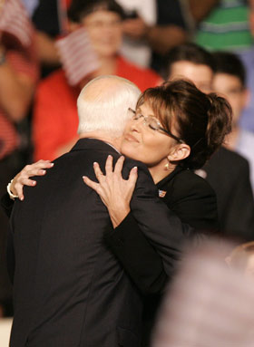 Gov. Palin Holding Her Special Needs Child
