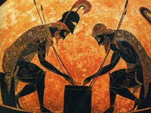 Ajax and Achilles Playing Dice Vase