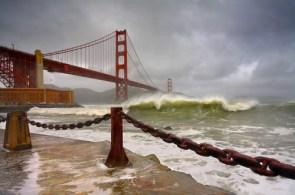 Waves against the bridge