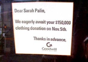 Message from Goodwill to Sarah Palin