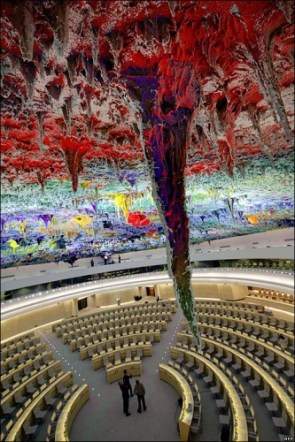 Ceiling artwork at the UN office in Geneva