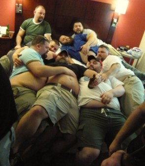 Eight Big, Bearded Men On A Bed