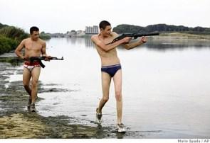 men with guns – in undewear