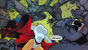 Power Girl beats off monkeys