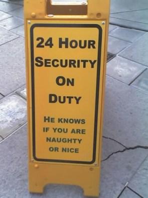 Santa is a security guard