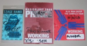 Rolling Stones, Prince, Blue Man Group backstage passes.