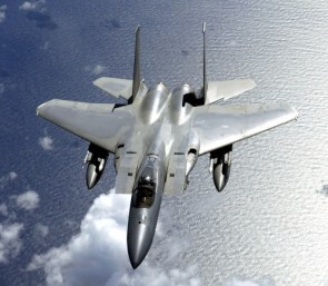 F-15 flying over the ocean