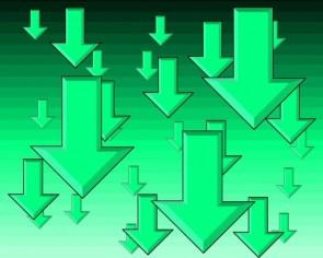 Green down arrows
